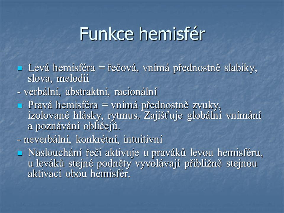 Funkce hemisfér Levá hemisféra = řečová, vnímá přednostně slabiky, slova, melodii. - verbální, abstraktní, racionální.