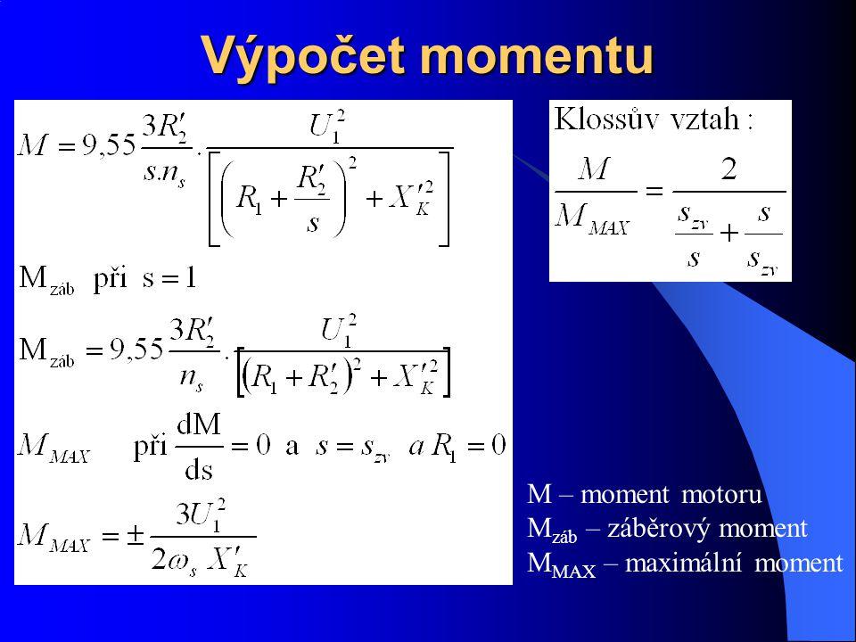 Výpočet momentu M – moment motoru Mzáb – záběrový moment