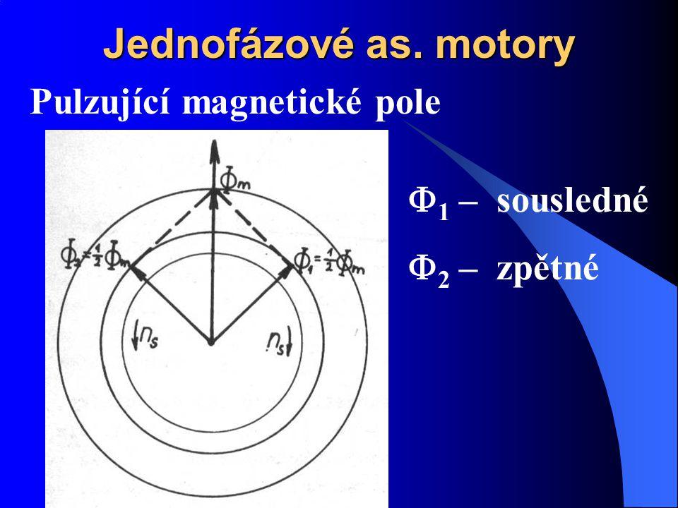 Jednofázové as. motory Pulzující magnetické pole F1 – sousledné