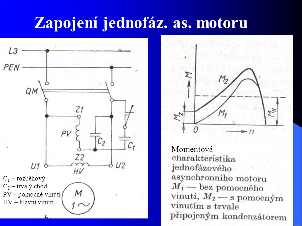 Zapojení jednofáz. as. motoru