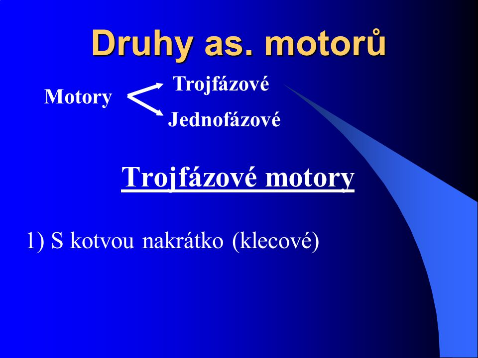 Druhy as. motorů Trojfázové motory 1) S kotvou nakrátko (klecové)
