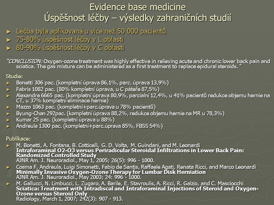 Evidence base medicine Úspěšnost léčby – výsledky zahraničních studií