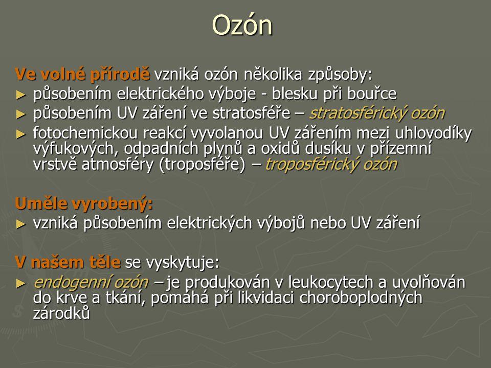 Ozón Ve volné přírodě vzniká ozón několika způsoby: