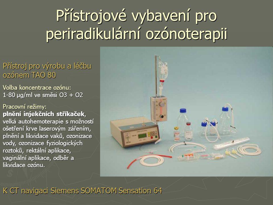 Přístrojové vybavení pro periradikulární ozónoterapii