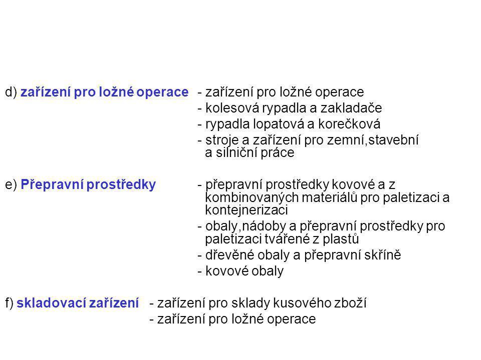 d) zařízení pro ložné operace - zařízení pro ložné operace