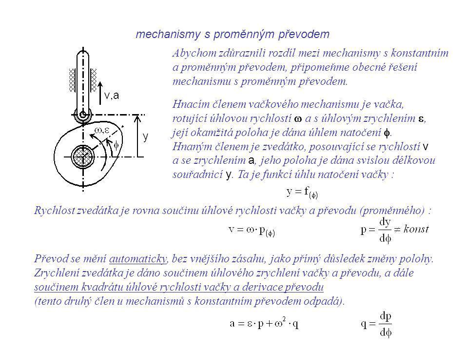 Dynamika I, 9. přednáška mechanismy s proměnným převodem.