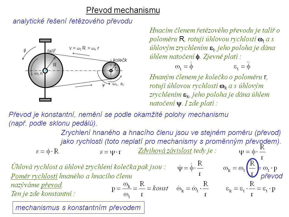 Převod mechanismu Dynamika I, 9. přednáška