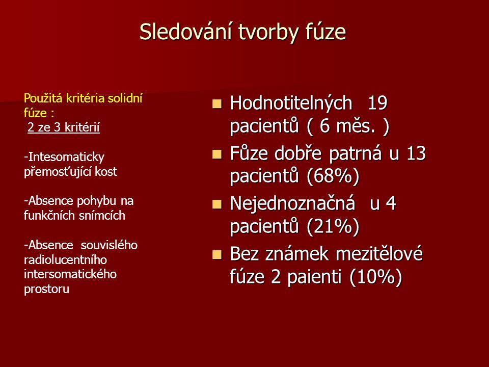 Sledování tvorby fúze Hodnotitelných 19 pacientů ( 6 měs. )