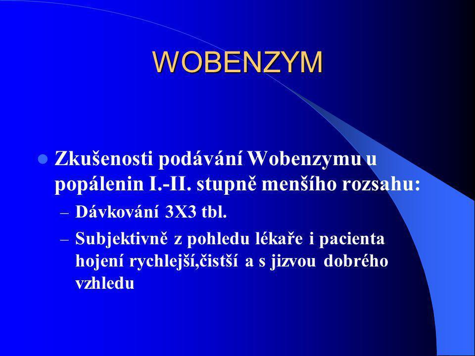 WOBENZYM Zkušenosti podávání Wobenzymu u popálenin I.-II. stupně menšího rozsahu: Dávkování 3X3 tbl.
