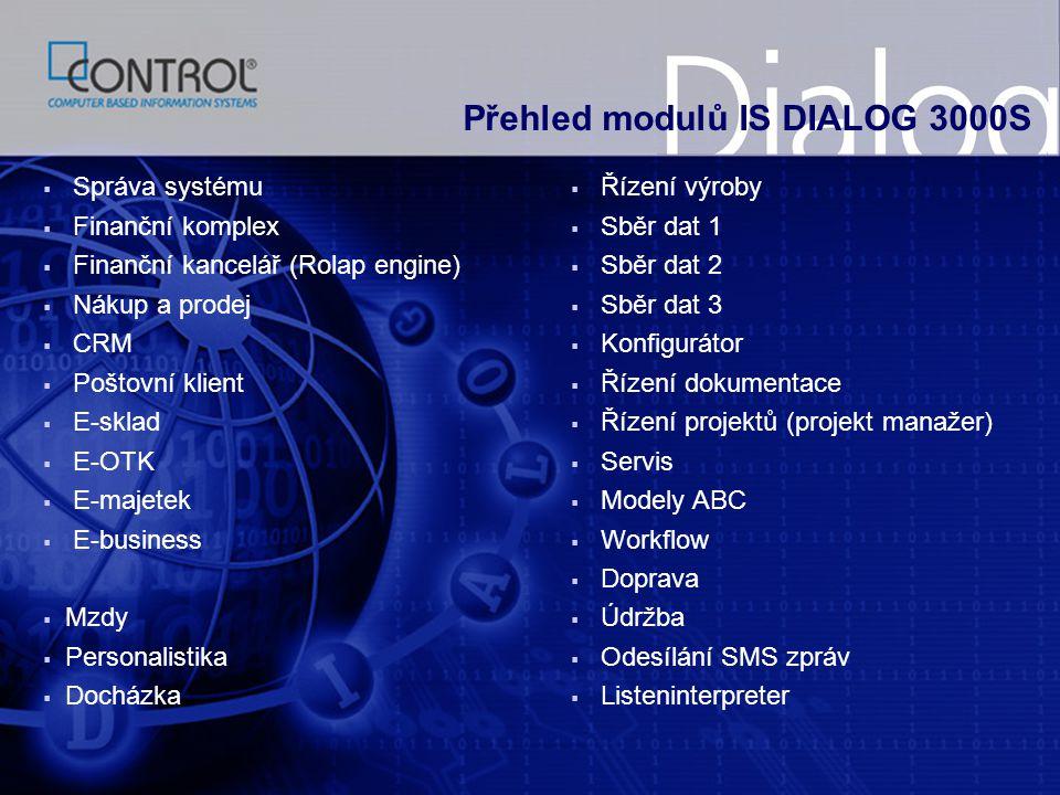 Přehled modulů IS DIALOG 3000S