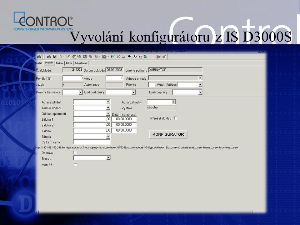 Vyvolání konfigurátoru z IS D3000S