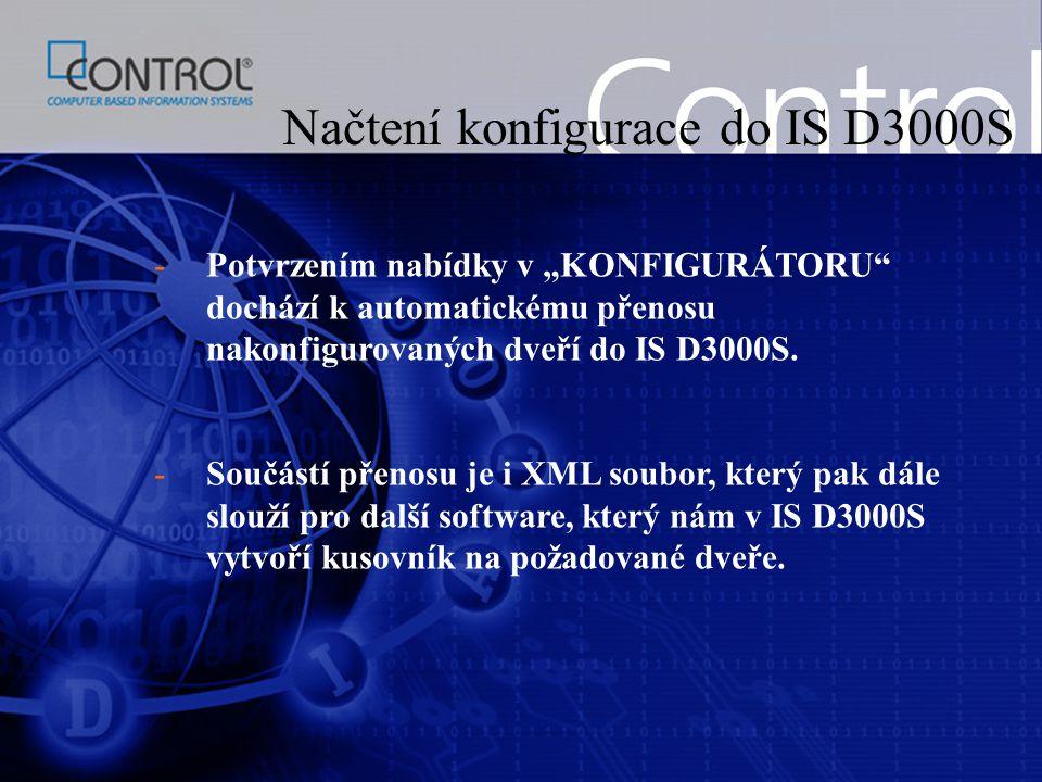 Načtení konfigurace do IS D3000S