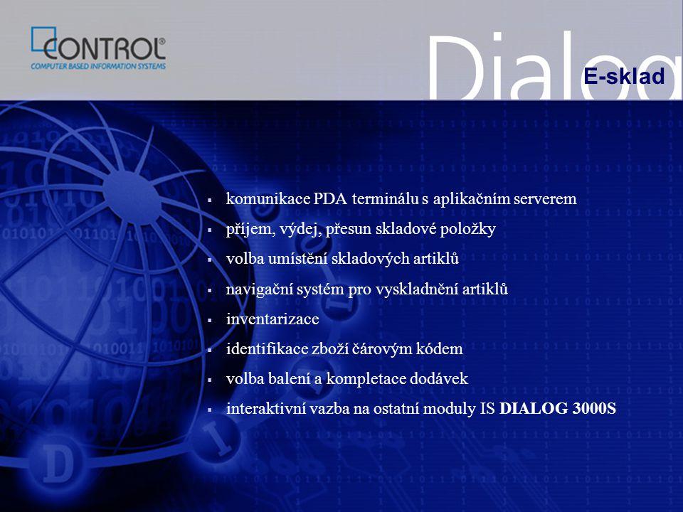 E-sklad komunikace PDA terminálu s aplikačním serverem