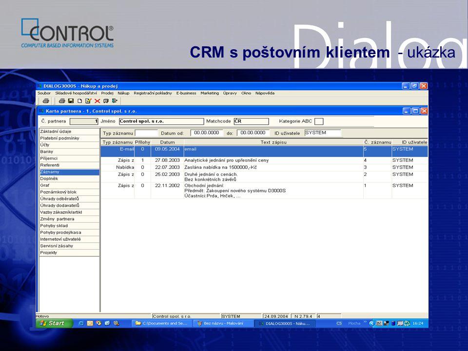 CRM s poštovním klientem - ukázka
