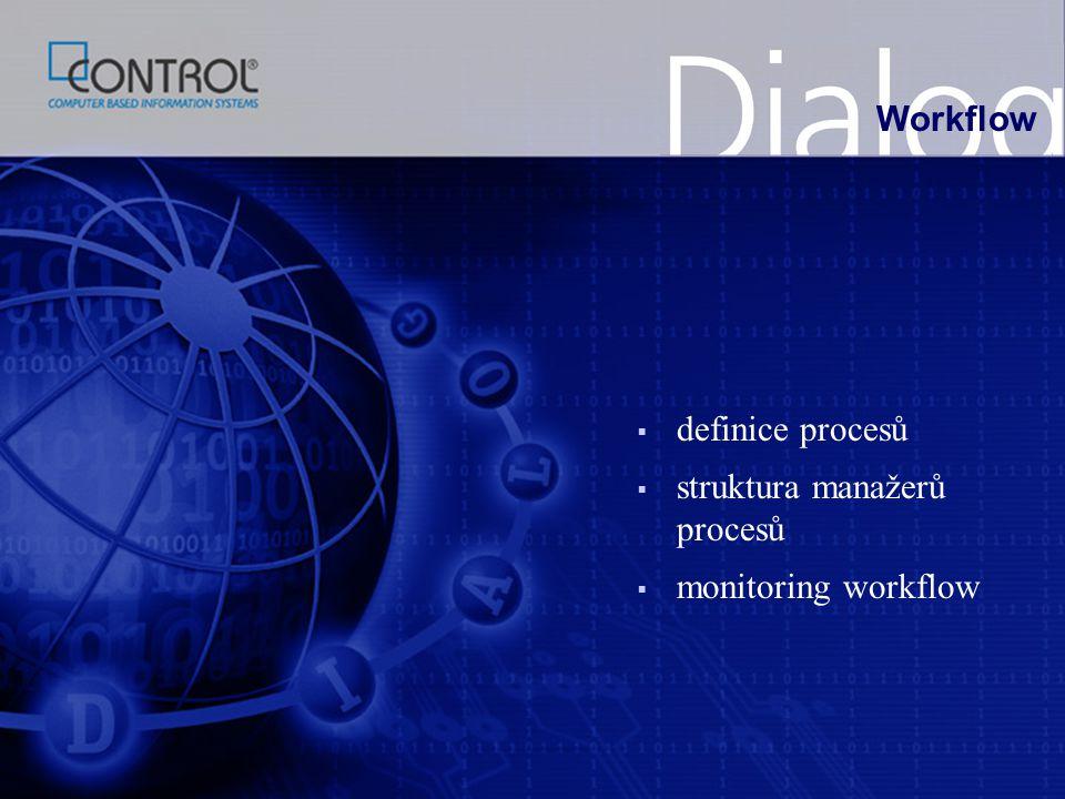 Workflow definice procesů struktura manažerů procesů monitoring workflow