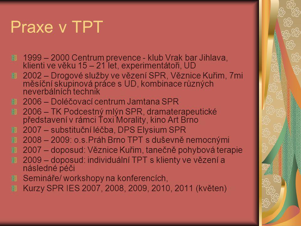 Praxe v TPT 1999 – 2000 Centrum prevence - klub Vrak bar Jihlava, klienti ve věku 15 – 21 let, experimentátoři, UD.