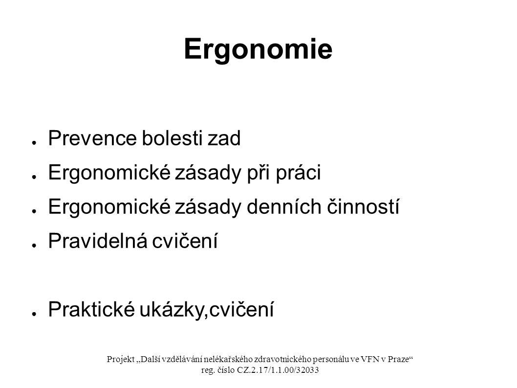 Ergonomie Prevence bolesti zad Ergonomické zásady při práci