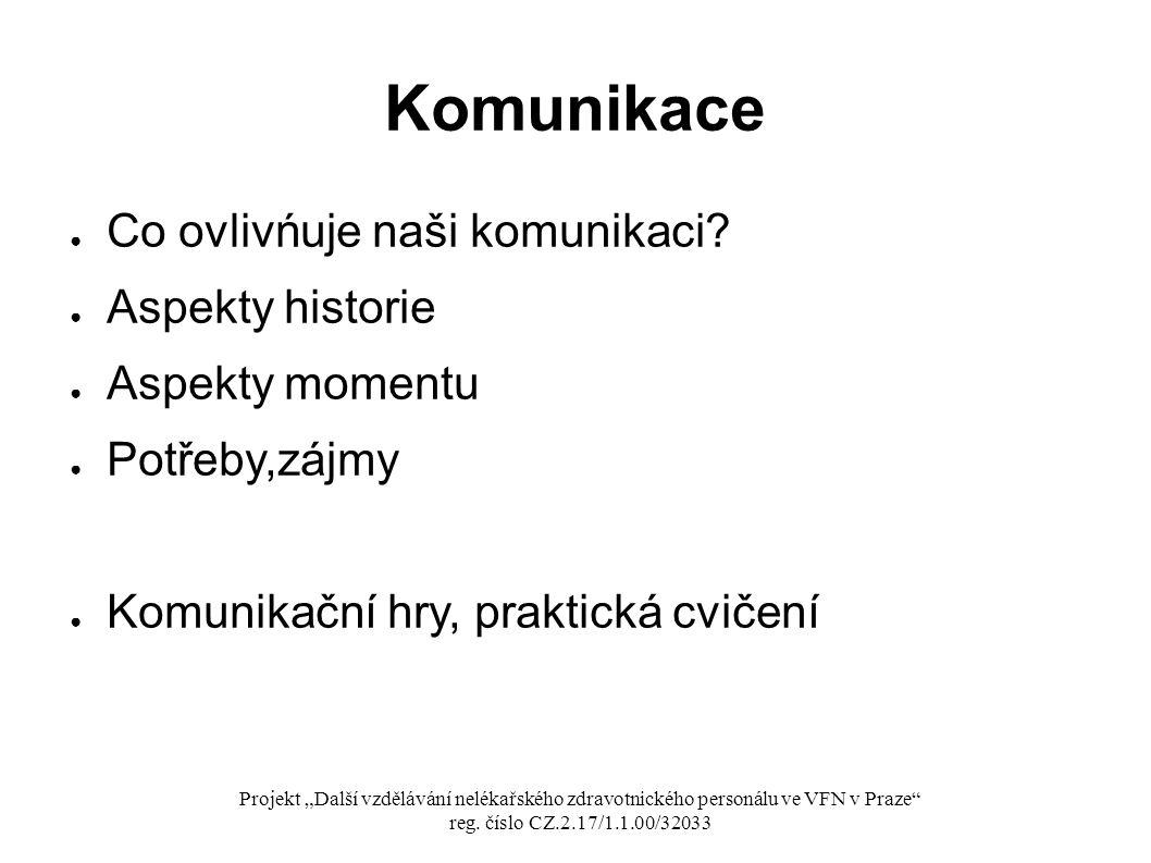 Komunikace Co ovlivńuje naši komunikaci Aspekty historie