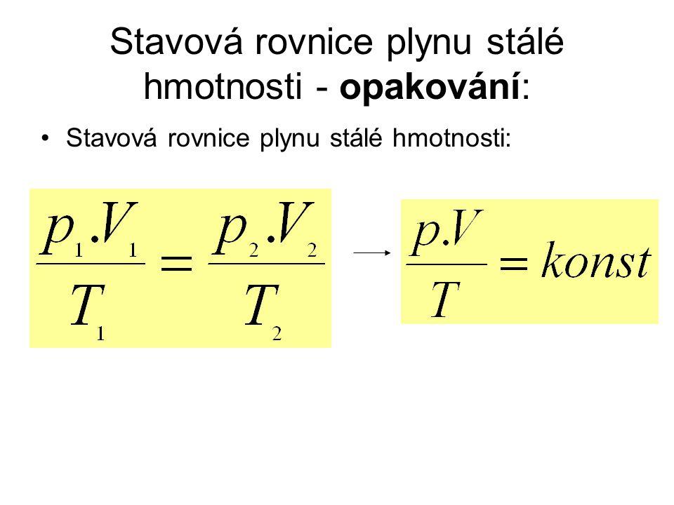 Stavová rovnice plynu stálé hmotnosti - opakování: