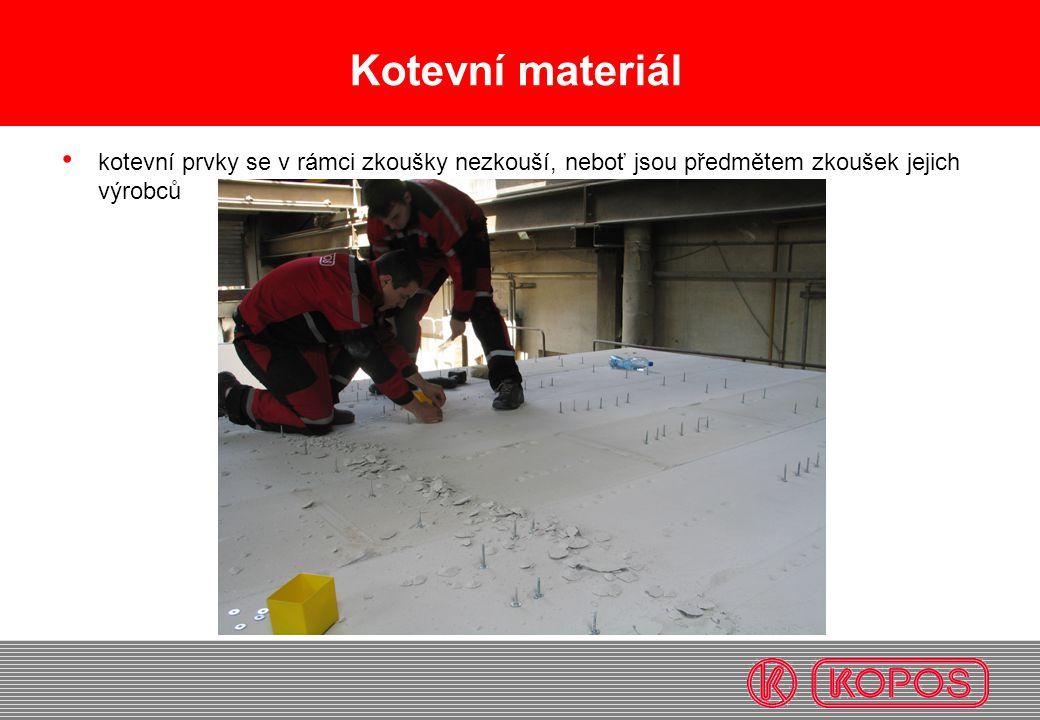 Kotevní materiál kotevní prvky se v rámci zkoušky nezkouší, neboť jsou předmětem zkoušek jejich výrobců.