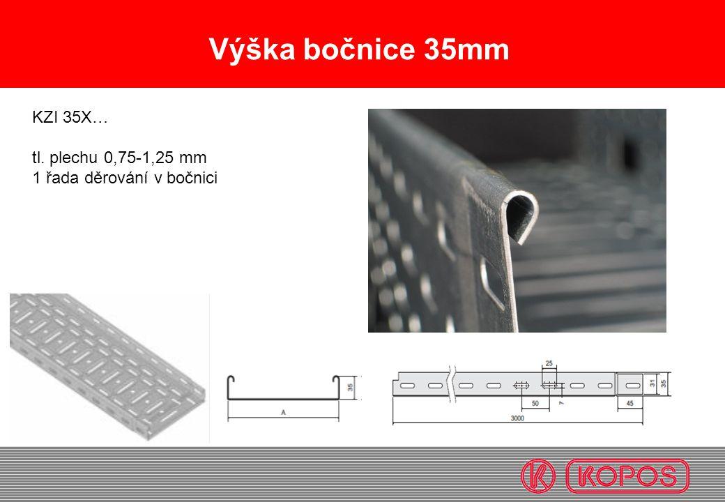 Výška bočnice 35mm KZI 35X… tl. plechu 0,75-1,25 mm