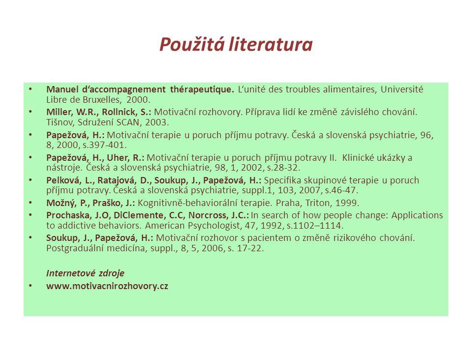 Použitá literatura Manuel d'accompagnement thérapeutique. L'unité des troubles alimentaires, Université Libre de Bruxelles, 2000.