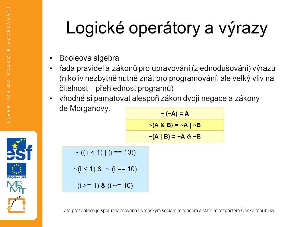 Logické operátory a výrazy