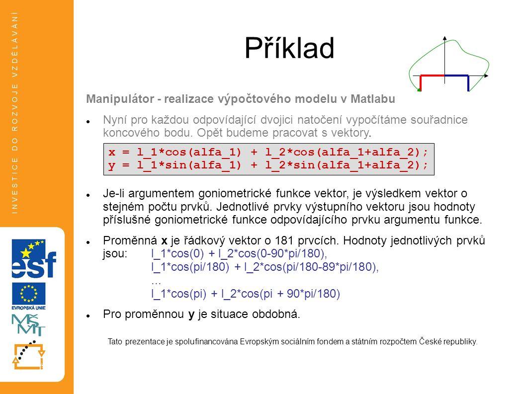 Příklad Manipulátor - realizace výpočtového modelu v Matlabu