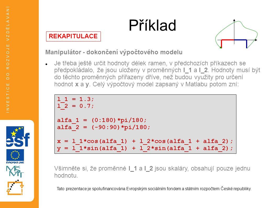 Příklad REKAPITULACE Manipulátor - dokončení výpočtového modelu