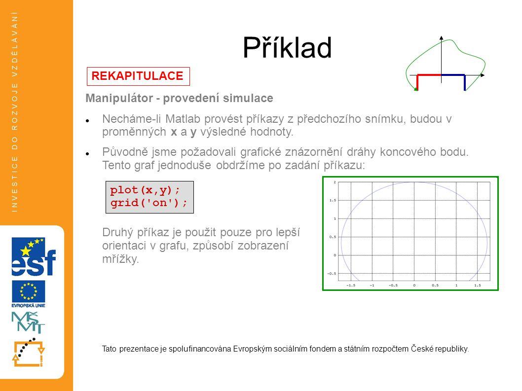Příklad REKAPITULACE Manipulátor - provedení simulace