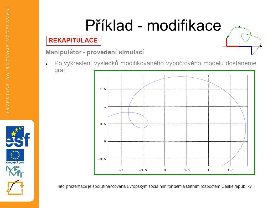 Příklad - modifikace REKAPITULACE Manipulátor - provedení simulací