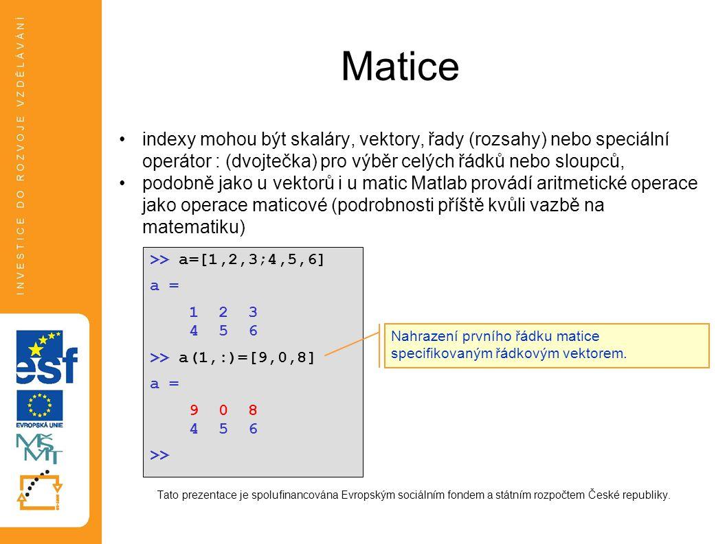 Matice indexy mohou být skaláry, vektory, řady (rozsahy) nebo speciální operátor : (dvojtečka) pro výběr celých řádků nebo sloupců,