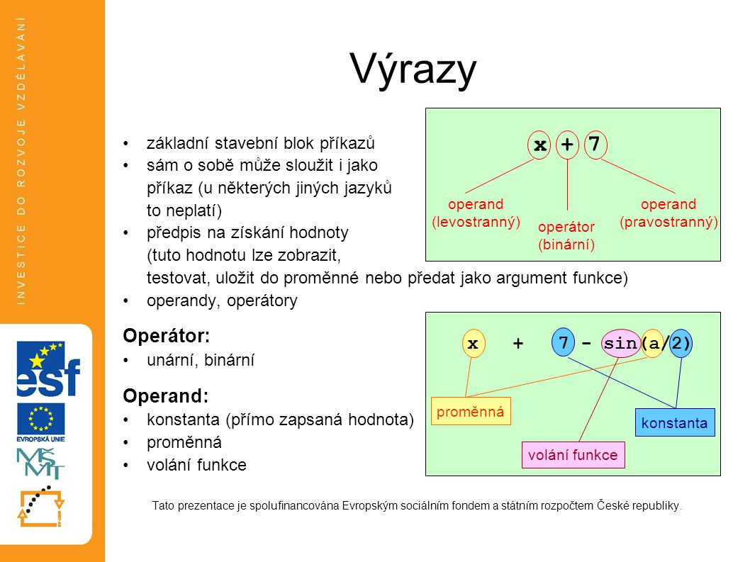Výrazy x + 7 Operátor: Operand: x + 7 - sin(a/2)