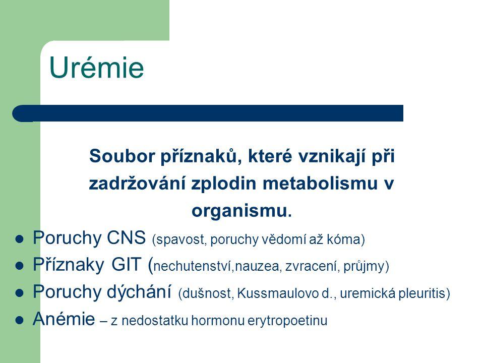 Soubor příznaků, které vznikají při zadržování zplodin metabolismu v