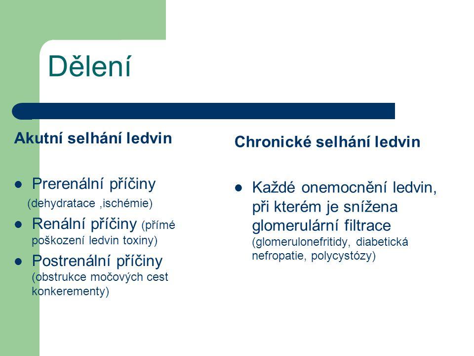 Dělení Akutní selhání ledvin Chronické selhání ledvin