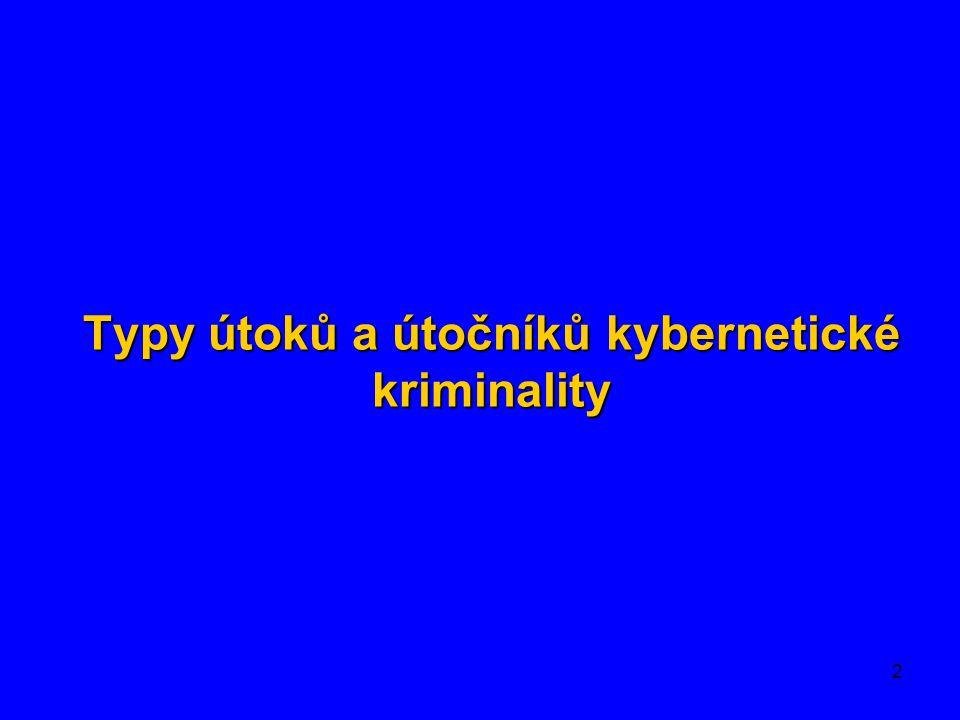Typy útoků a útočníků kybernetické kriminality