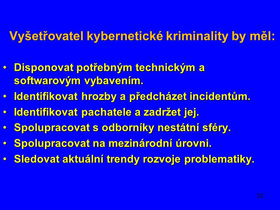 Vyšetřovatel kybernetické kriminality by měl: