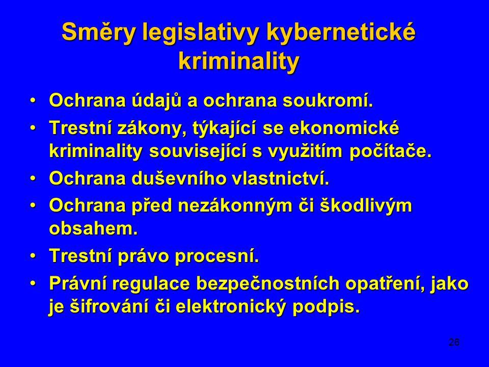 Směry legislativy kybernetické kriminality