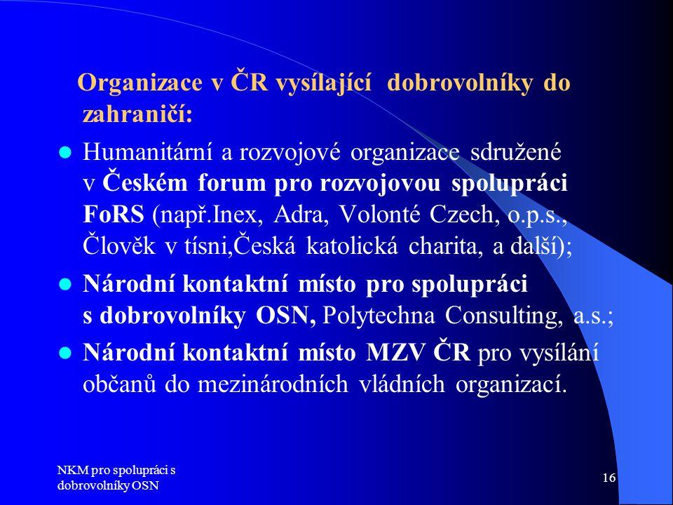 Organizace v ČR vysílající dobrovolníky do zahraničí: