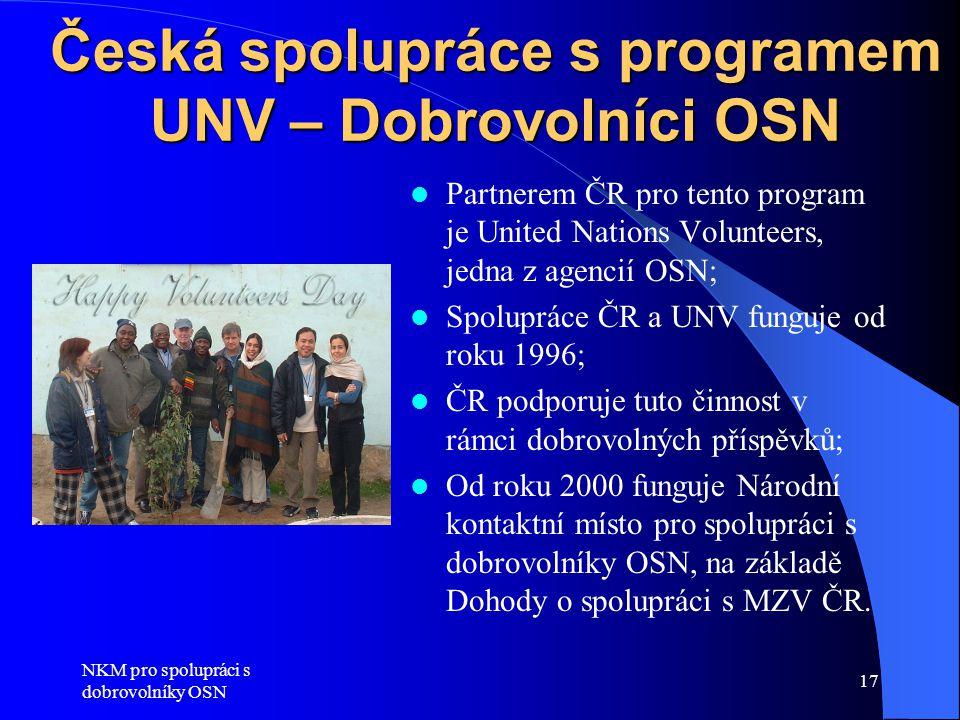 Česká spolupráce s programem UNV – Dobrovolníci OSN