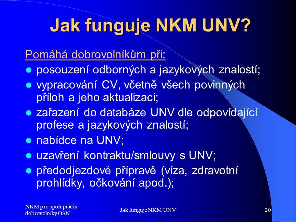 Jak funguje NKM UNV Pomáhá dobrovolníkům při:
