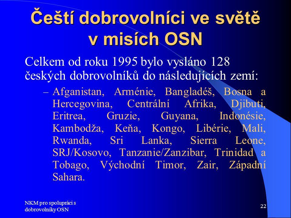Čeští dobrovolníci ve světě v misích OSN
