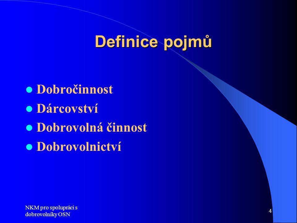 Definice pojmů Dobročinnost Dárcovství Dobrovolná činnost