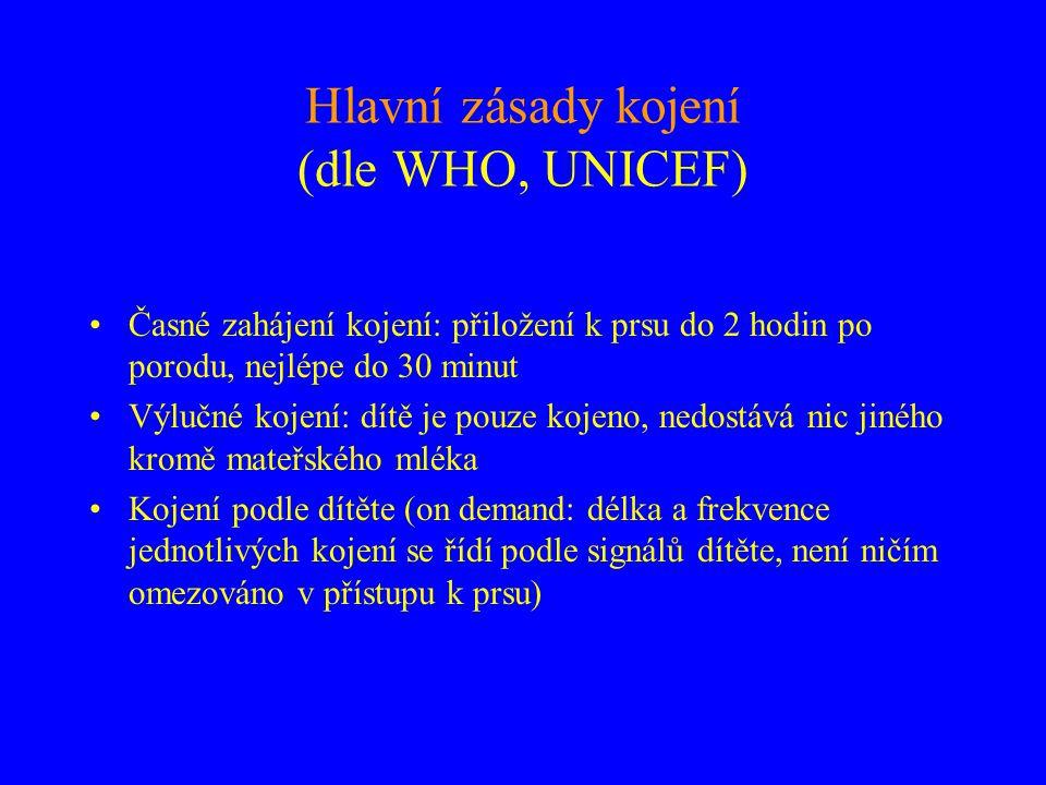 Hlavní zásady kojení (dle WHO, UNICEF)