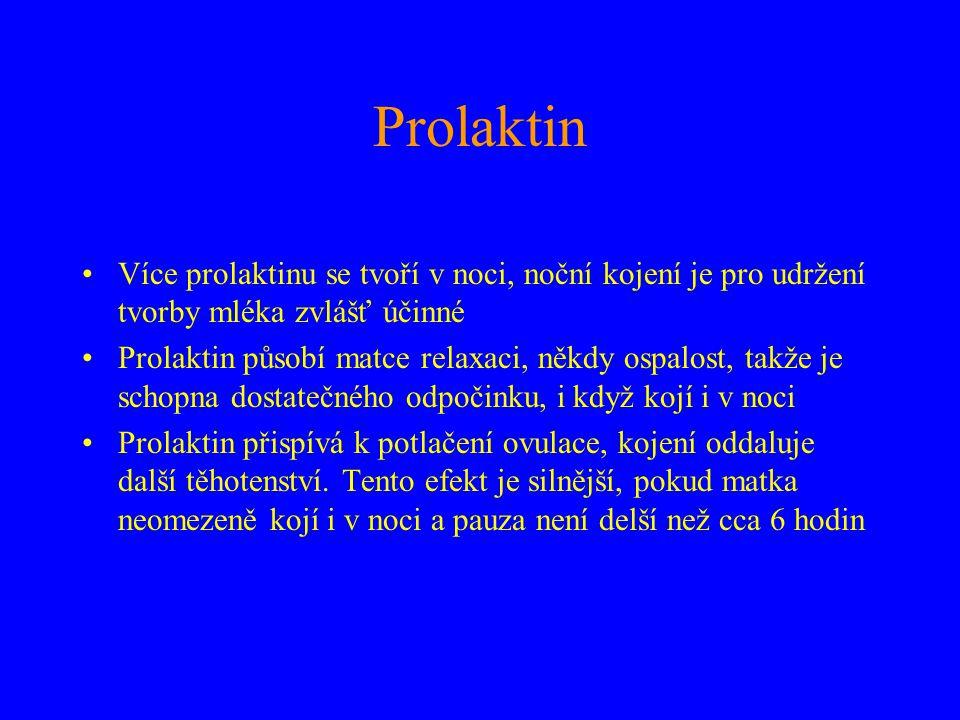 Prolaktin Více prolaktinu se tvoří v noci, noční kojení je pro udržení tvorby mléka zvlášť účinné.
