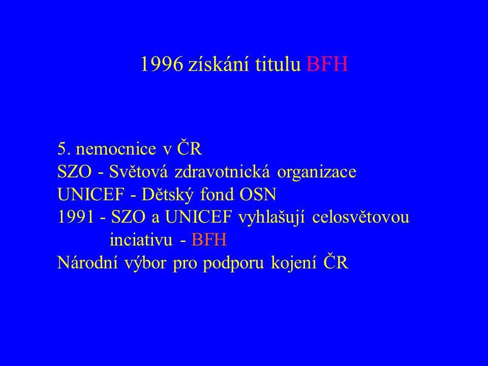 1996 získání titulu BFH 5. nemocnice v ČR