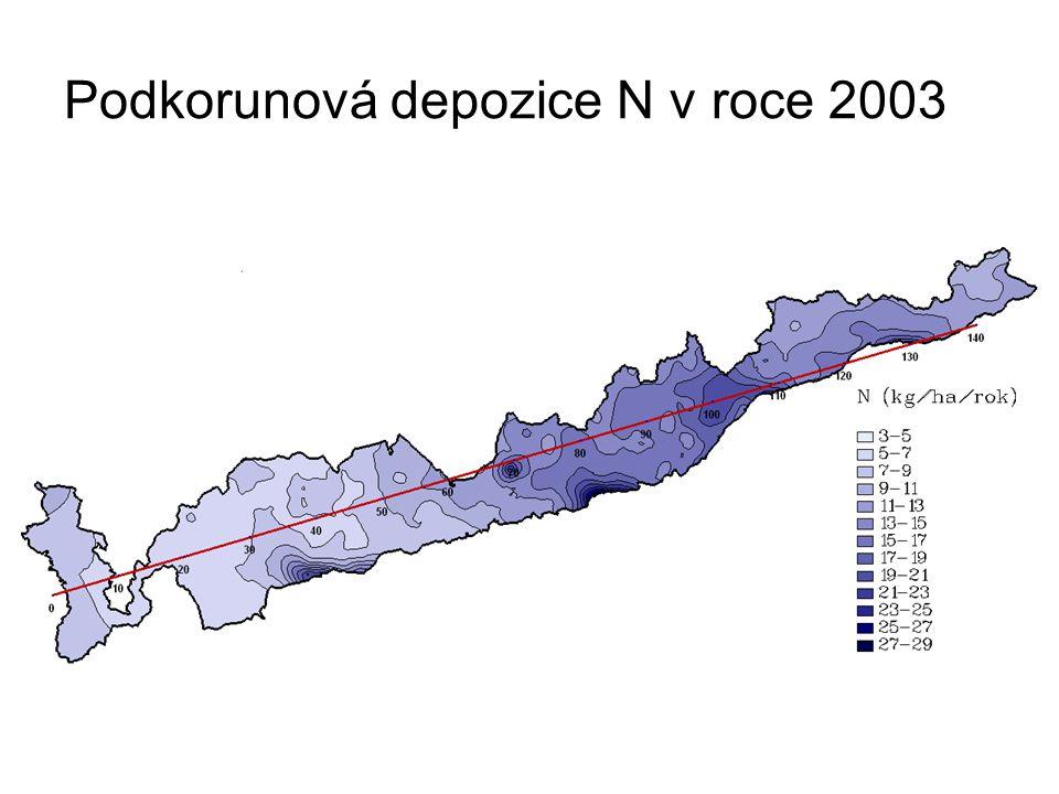 Podkorunová depozice N v roce 2003