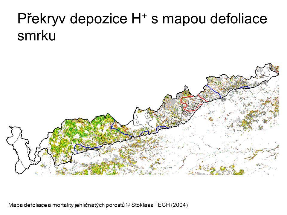 Překryv depozice H+ s mapou defoliace smrku