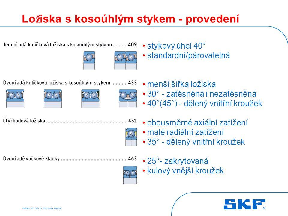 3 Naklápěcí kuličková ložiska October 30, 2007 © SKF Group Slide 35