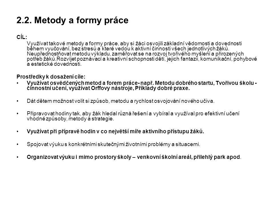 2.2. Metody a formy práce CÍL: